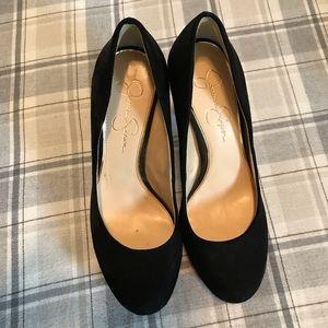 Jessica Simpson Black Suede feel Stilettos size 9